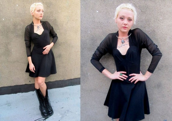 90's Goth Black Sheer See Through Witchy Fancy Dress