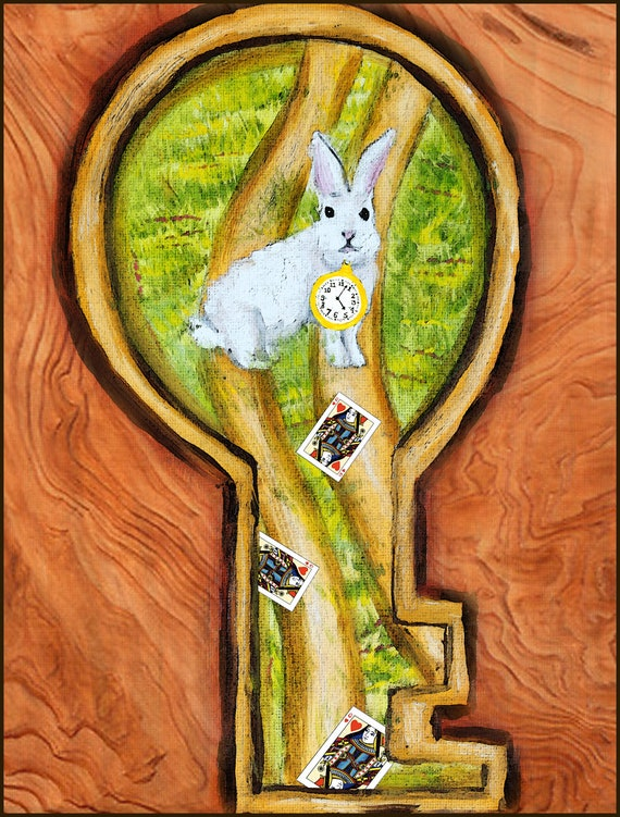 Items similar to alice in wonderland follow the white Alice and wonderland art projects