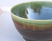 Rustic Green & Brown Stoneware Bowl