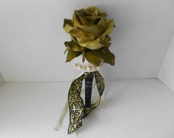 Crushed Velvet Toss Bouquet Alternative Bridal Bouquet