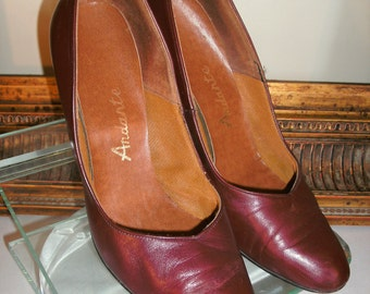 Vintage 1970's Andarte Burgundy Leather High Heels - 6 1/2