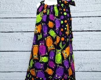 Girls Halloween Pillowcase Dress Owls Polka dot - Size 4T - Ready to Ship