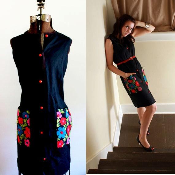 RESERVED FOR SASHA Black Shirt dress 1960s embroidered Small