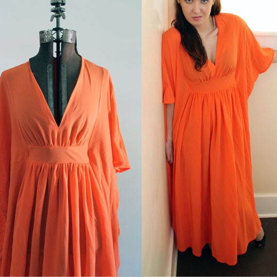 Electric Orange Nightgown Butterfly Sleeves Miss Elaine 1970s