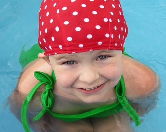 Lycra SWiM CaP - RED POLKA DOT - Sizes - Baby , Child , Adult , Xl - Made from Spandex / Swimsuit Swimming Fabric -by Froggie's Swim Caps