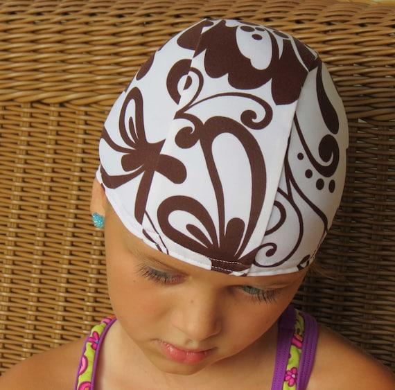 Lycra SWiM CaP - ELEGANT Brown SWIRLES - Sizes - Baby , Child , Adult , XL Made from Spandex Swimsuit Swimming Fabric by Froggie's Swim Caps