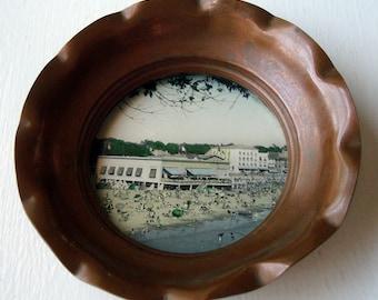 Vintage 1920s Royan Beach, France Souvenir Photo Copper Tray