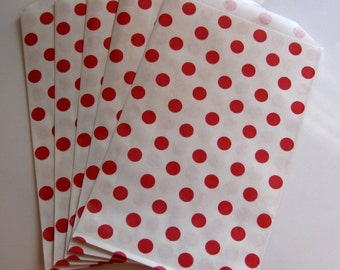"Set of 20 Red and White Polka Dot Design Middy Bitty Bags (5"" x 7.5"")"