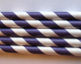 25 Paper Purple & White Striped Straws - Free Printable Straw Flags