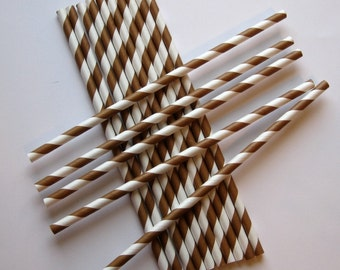 25 Paper Chocolate Brown & White Striped Straws - Free Printable Straw Flags