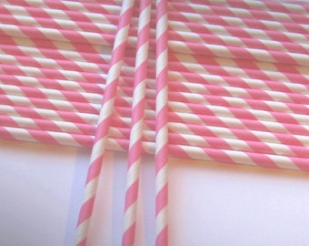 25 Paper Pink & White Striped Straws - Free Printable Straw Flags