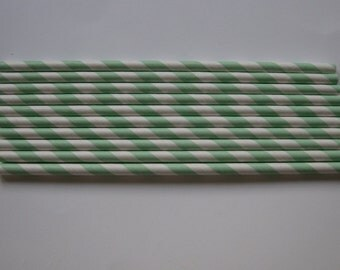 25 Paper Mint Green and White Striped Straws - Free Printable Straw Flags