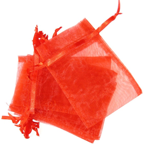 Set of 20 (4x6) Red Organza Bags
