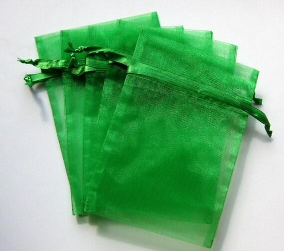 Set of 10 Emerald Green (5x8) Organza Bags