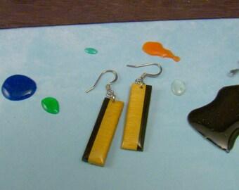 Wood Earrings - Yellowheart & Black Stick