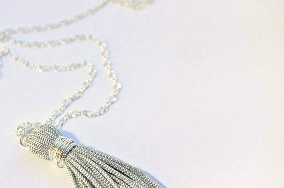 Silver Grey Tassel Necklace -  Long Silver chain - 1920's inspired.