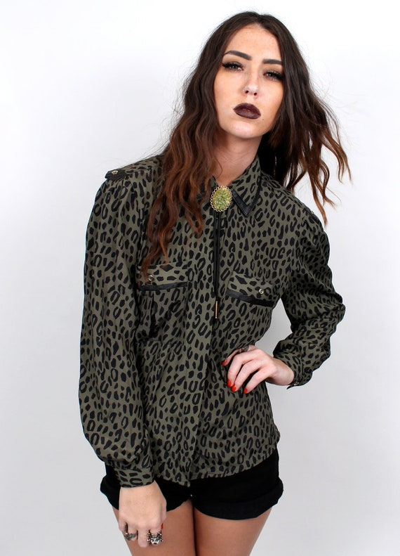 Leather and Leopard Print Collared Blouse /womens size small or medium  Army Green and Black 1990s 1980s vintage