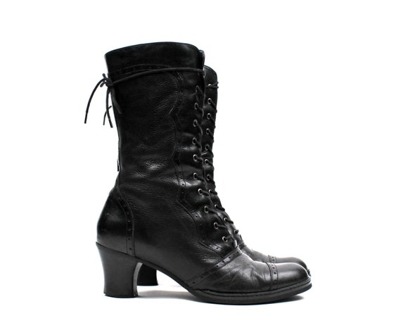 Lace Up 1990s Leather Tall Victorian Style Roper Granny Boots