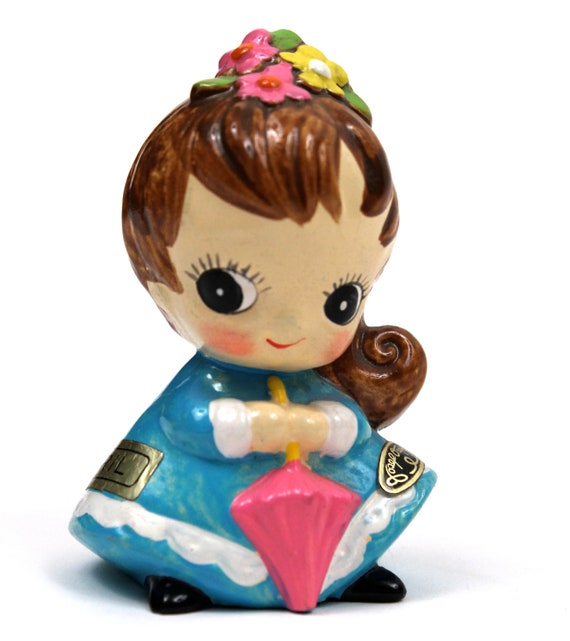 Little MOD April Birthday Girl // gift present cute miniature figurine 1960s