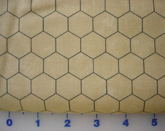 Moda black Chicken wire on tan  1 yard cotton quilt fabric