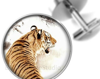 Tiger Cufflinks Groomsmen Wedding Party Fathers Dads Men