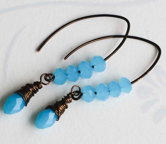 Mint Blue Teardrop Glass Antique Bronze Plated Wire Wrapped Hoop Earrings