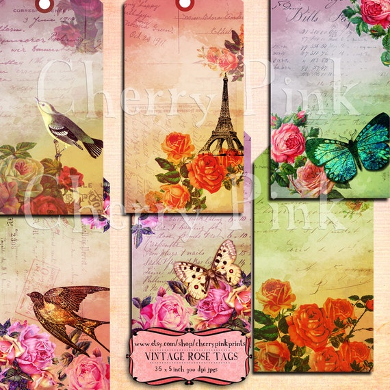 Ephemera digital tags, Vintage Rose Tags,  flower tags, rose tags, labels, perfect for parties, presents and invitations, Instant Download