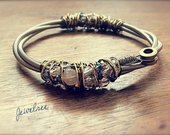 MOON BASS BANGLE- Moonstone Adorned Recycled Bass String Bangle- Stackable Bracelet- Two Toned Wire, Wrapped with Glass Beading