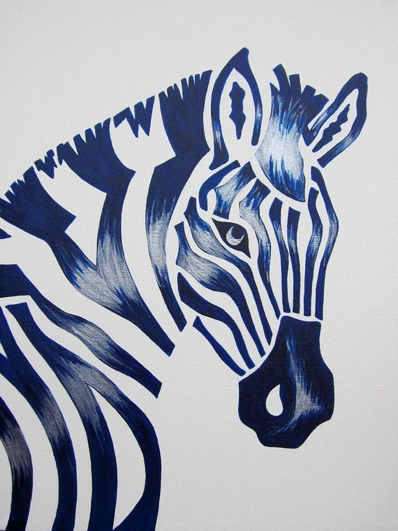 Blue Zebra Safari Nursery Art Zoo Animal Jungle By