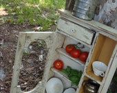 KItchen Cabinet Wood Cabinet Shabby Chic Country Farm Primitive Chicken Wire Rustic Cabinet