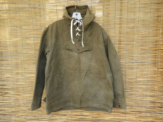 Vintage 1940's Military Washed Out Green Cotton Windproof  Pullover Anorak Size XL