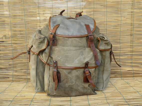 Vintage 1950's Military Large Washed Out Green Canvas and Leather Backpack