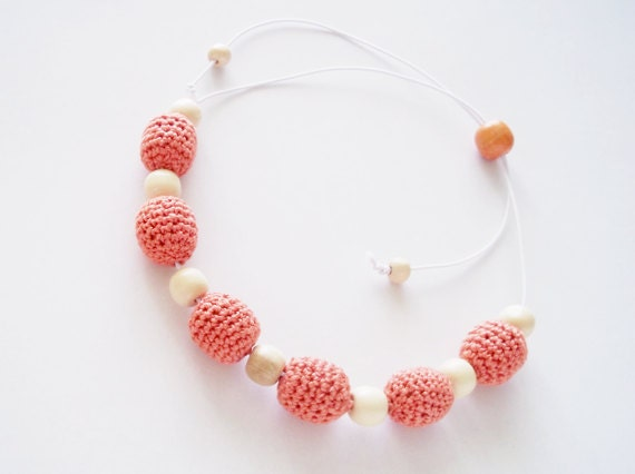 Peach orange crocheted bead necklace / adjustable jewelry / simple design