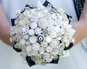 The Deluxe Bassey Button Bouquet - Ivory Vintage Buttons and Rhinestone Buttons