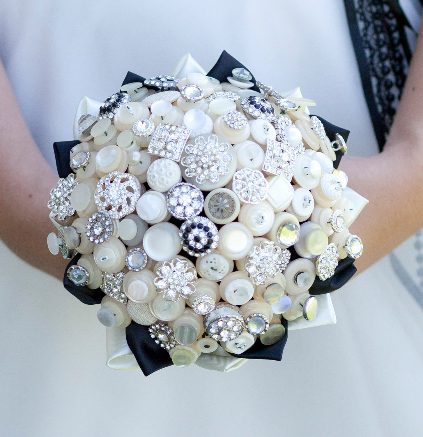 The Deluxe Bassey Button Bouquet Ivory Vintage Buttons and