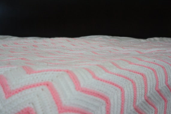 "Afghan with Pink and White Chevy Stripes  63"" x 78""  Cottage Chic"