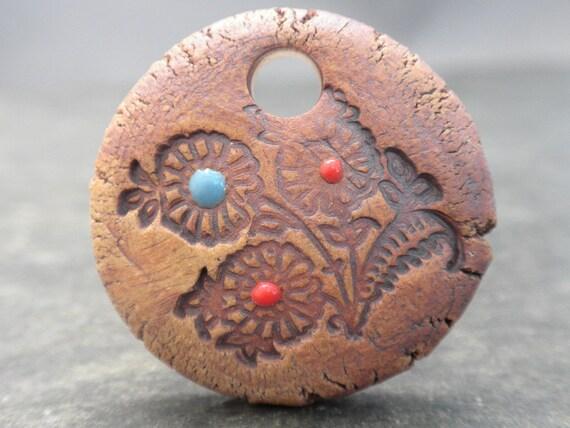 Rustic Flora- handmade rustic ceramic pendant