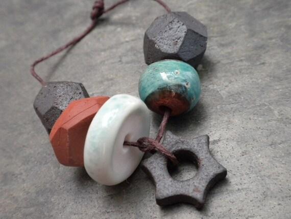 Terra Series- handmade ceramic bead set 9683