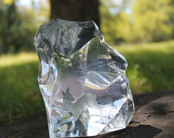 Ekenas Sweden Crystal Glass Sculpture signed J O Lake