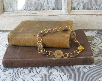 Vintage Button Bracelet, Brown And Gold