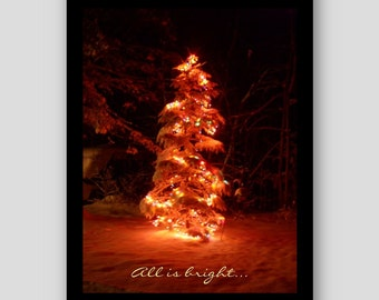 Christmas Tree Card - Christmas card, Christmas snow, Christmas lights, Maine Christmas, All is Bright