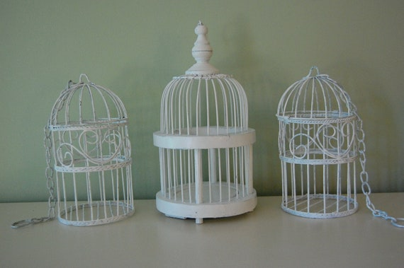 Set of 3 Shabby Chic White Birdcage Style Distressed Candle Holders for Wedding or Home Decor