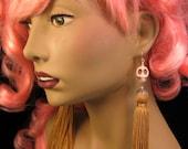 Kiss Me Deadly- Gold tassel skull earrings