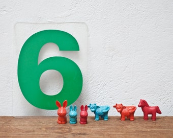 Vintage Number 6 - Marquee Number 9 - Green Marquee Plastic Number 6 9 Sign Six Nine Sign