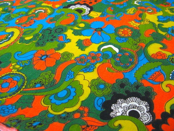 "Vintage Fabric - Groovy Flowers & Swirls - By the Yard x 44""W - NehiandZotz"