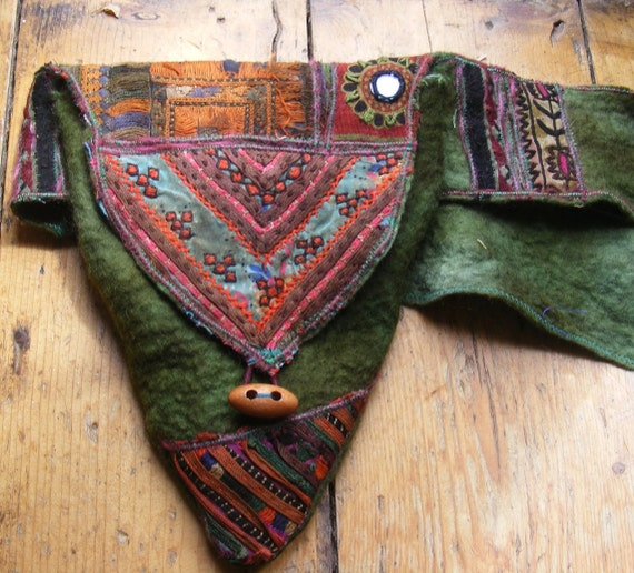 Green  Tribal Patchwork Hand Felted Hip Bag freesize up to 42 inches