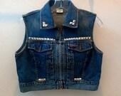 Women's Small Light Blue Studded Denim Vest