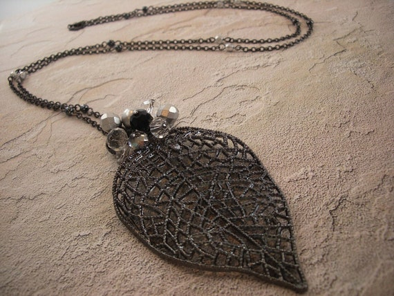 Long Necklace, Leaf Necklace, Chain Necklace