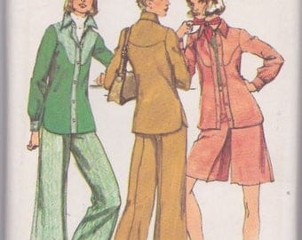 "Simplicity 5931 Misses' Unlined Shirt-Jacket, Short Pantskirt and Pants Pattern, UNCUT, Size 16, Bust 38"", Vintage 1973, Wide Leg Pants"