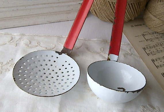 French Enamelware, Primitive Enamel Ladle and Skimmer, Vintage Enamelware, Red Handled Enamel Ladle and Skimmer